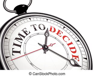time to decide concept clock isolated on white background