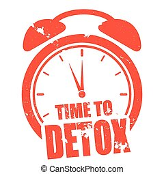 minimalistic illustration of a grungy clock with time to Detox text, eps10 vector