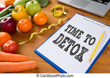 TIME TO DETOX Fitness and weight loss concept, clipboard, fruit and tape measure on a wooden table, top view, free copy space