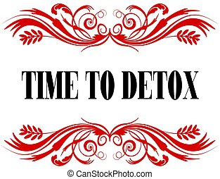 TIME TO DETOX red floral text frame.