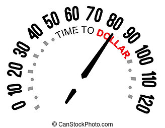 time to dollar, speedometer - The words TIme to dollar on a...