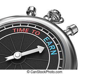 Time to earn timepiece 3d concept , isolated