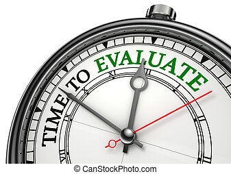 time to evaluate concept clock closeup isolated on white...
