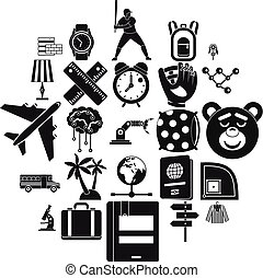 Time to fly icons set, simple style