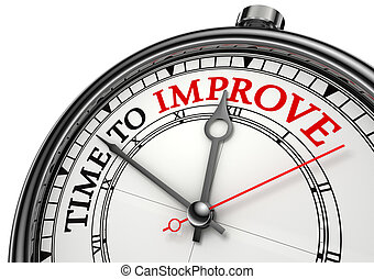 time to improve concept clock closeup isolated on white...