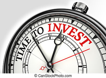 time to invest concept clock closeup on white background...