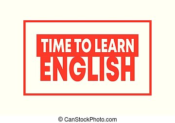 Time to learn english - learning concept. Red vector isolated illustration on white background