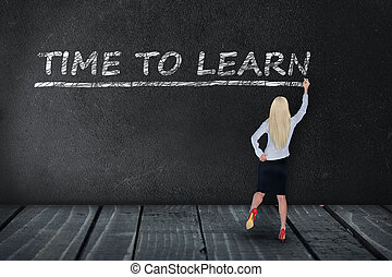 Time to learn text on black board