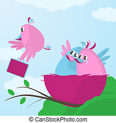 Time to leave the nest - Cute cartoon bird family waving...