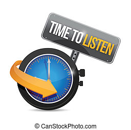 time to listen watch illustration design over a white background