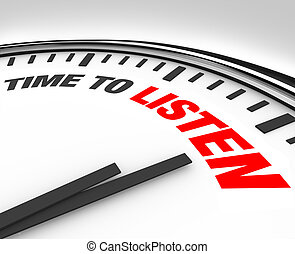 Time to Listen Words on Clock - Hear and Understand - White ...