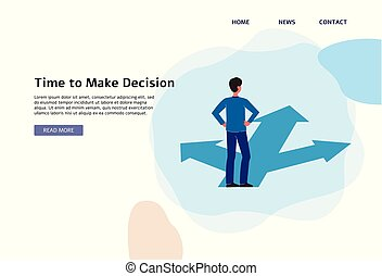 Time to make a decision - flat banner template with cartoon ...