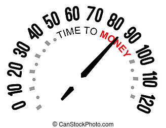 time to money, speedometer - The words TIme to money on a...