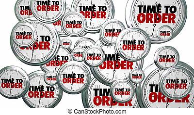 Time to Order Clocks Flying Buy Now 3d Illustration