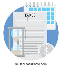 Time to pay taxes flat icon
