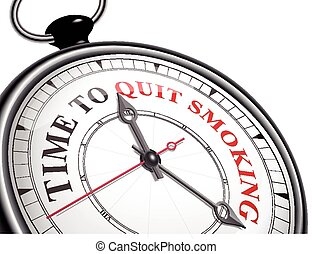 time to quit smoking concept clock isolated on white ...