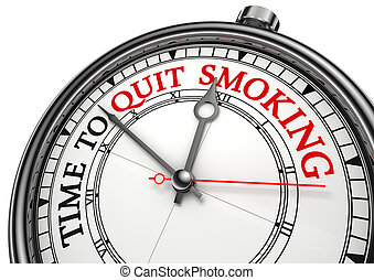 time to quit smoking concept clock on white background with...