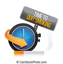 time to quit smoking watch illustration design over a white ...