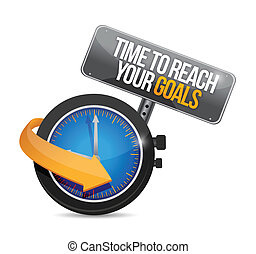 time to reach your goals concept illustration design over a...