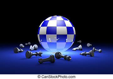 Time to relax (chess metaphor). 3D render illustration. Free space for text.