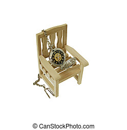 Wooden chair against a white background, Silver pocket watch with a metal chain