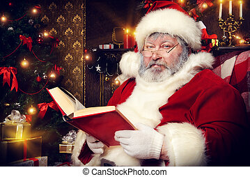 time to rest - Santa Claus sat down to rest by the fireplace...