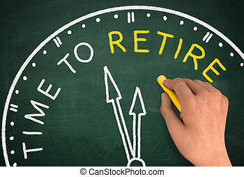 time to retire clock chalkboard write concept  3d illustration