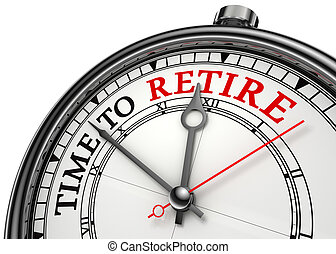 time to retire concept clock closeup isolated on white...