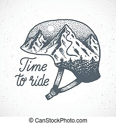 Time to Ride Abstract Vector Hand Drawn Snowboard or Ski Helmet with Mountain Landscape in Dotwork Style.