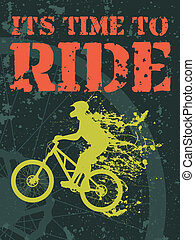 Time to ride - Vector illustration of a biker with ink...