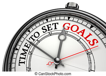 time to set goals concept clock closeup isolated on white background with red and black words