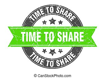 time to share round stamp with green ribbon. time to share