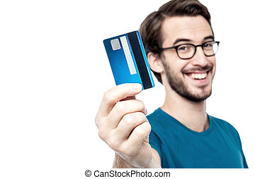 Time to shop with my credit card - Happy man showing his new...