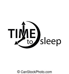 Time to sleep. Flat vector alarm clock icon on white background.