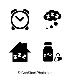 Time to Sleep, Hypnotic. Simple Related Vector Icons Set for Video, Mobile Apps, Web Sites, Print Projects and Your Design. Time to Sleep, Hypnotic icon Black Flat Illustration on White Background.