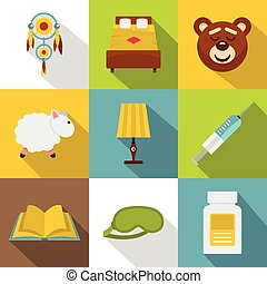 Time to sleep icon set, flat style