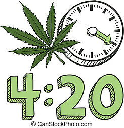 Doodle style 420 marijuana leaf sketch in vector format. Includes pot plant, text, and clock.