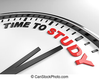 time to study - Clock with words time to study on its face