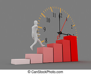 time to success concept . businessman climb to top of graph . 3d rendered illustration