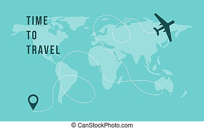 Time to Travel banner with airplane on world map background vector illustration.