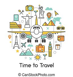 Time to Travel by Plane Line Art Thin Vector Icons Set with Airplane and Famous World Architecture