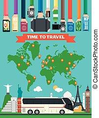 Time to travel design flat with tourist bus and map of the earth