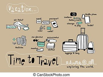 Time to Travel Doodle Brown background