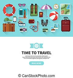 Time to travel. Flat design vector banner