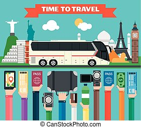 Time to travel flat design with tourist bus. Summer...