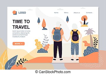 Time to travel landing page template. Couple of old tourists...