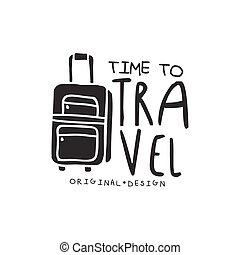 Time to travel logo with traveler luggage - Time to travel....