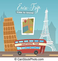 Time to Travel. Travel by Bus. Euro Trip. Travel banner. Vector illustration