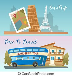 Time to Travel. Travel by Bus. Euro Trip. Travel banners. Vector illustration