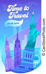 Time to Travel Typography Banner. Visit Big City in United...